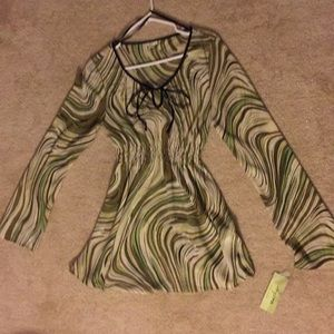Agora taupe and green blouse. Fits size medium